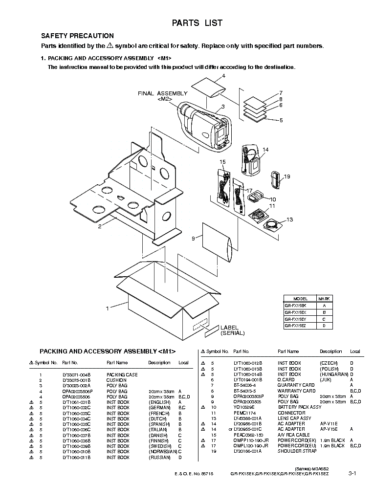 JVC GR-FX15E PART Service Manual download, schematics