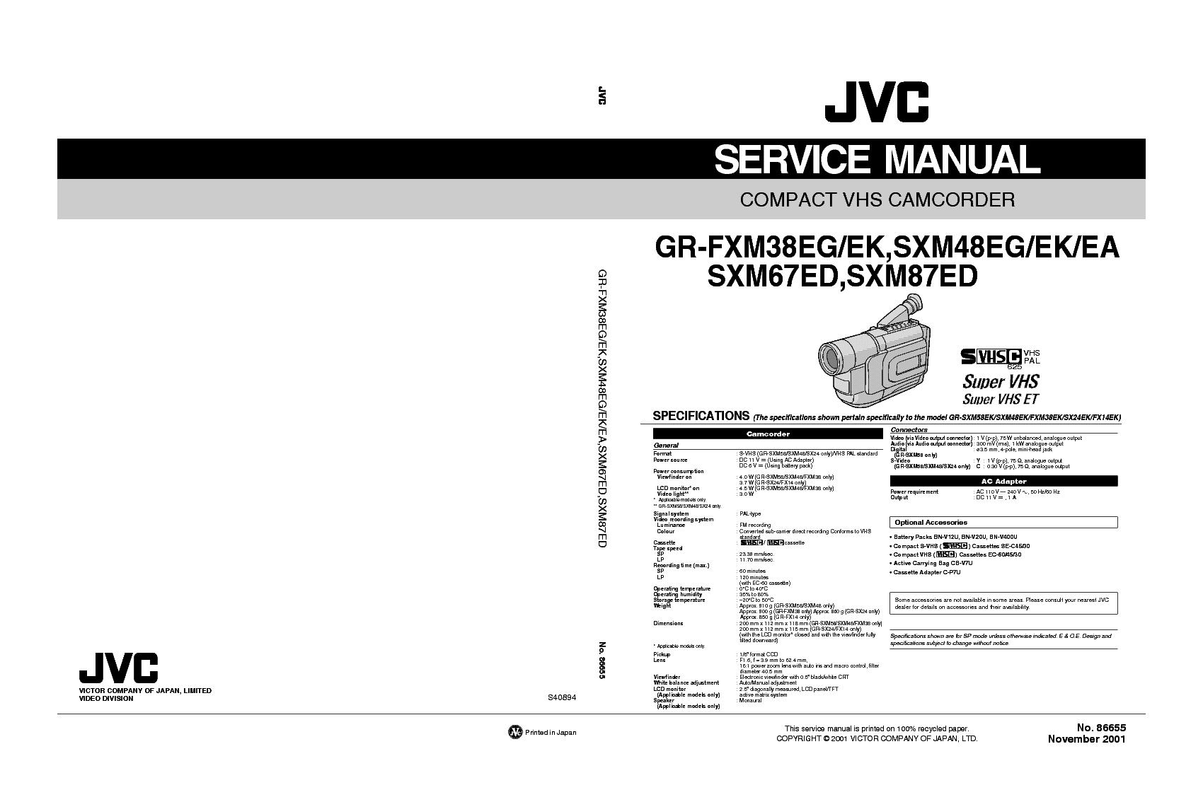 JVC GR-FXM38 SXM48 SXM67 SXM87 EA-ED-EG-EK SM Service