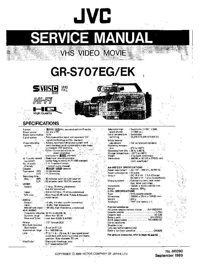 JVC GR-S707-EG-EK SM Service Manual download, schematics