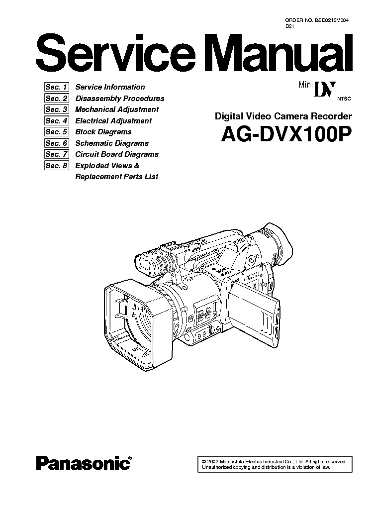 PANASONIC AG-DVX100P SM Service Manual download