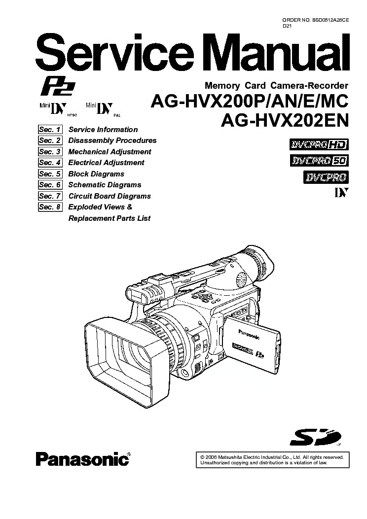 PANASONIC AG-HVX200 Service Manual download, schematics