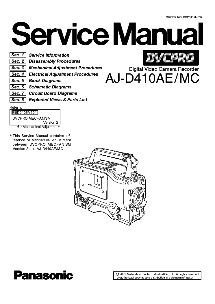 PANASONIC AJ-D410 Service Manual download, schematics