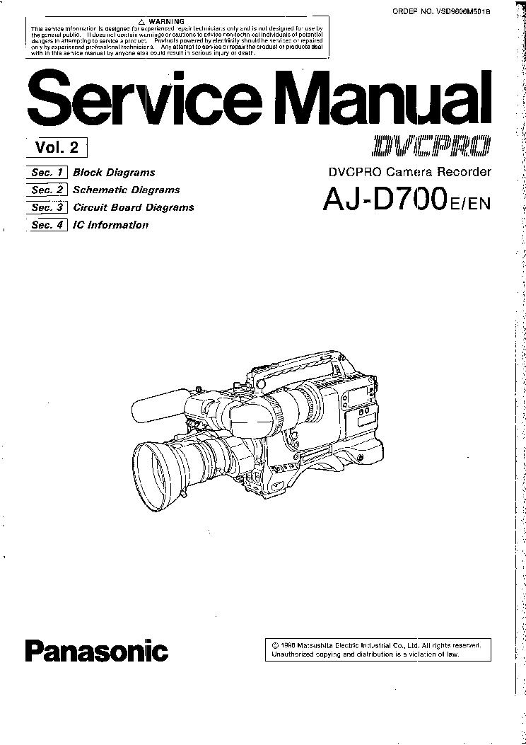 PANASONIC AJ-D700 VOL2 Service Manual download, schematics