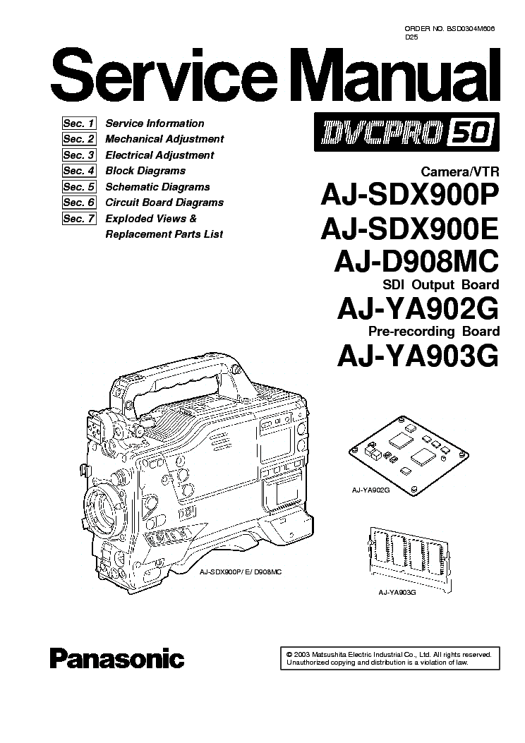 PANASONIC AJ-D908 SDX900 Service Manual download