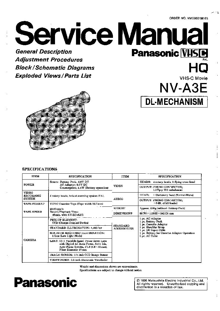 PANASONIC NV-A3E SM Service Manual download, schematics