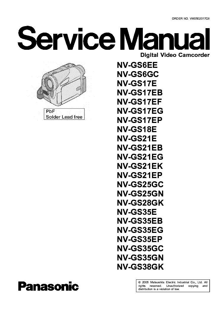 PANASONIC NV-GS6,GS17,GS18,GS21,GS25,GS28,GS35,GS38