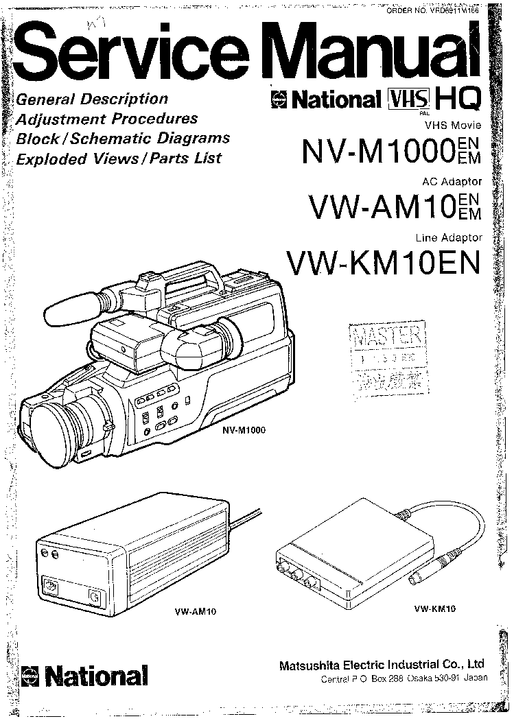 PANASONIC NV-M1000 VW-AM10 VW-KM10EN Service Manual