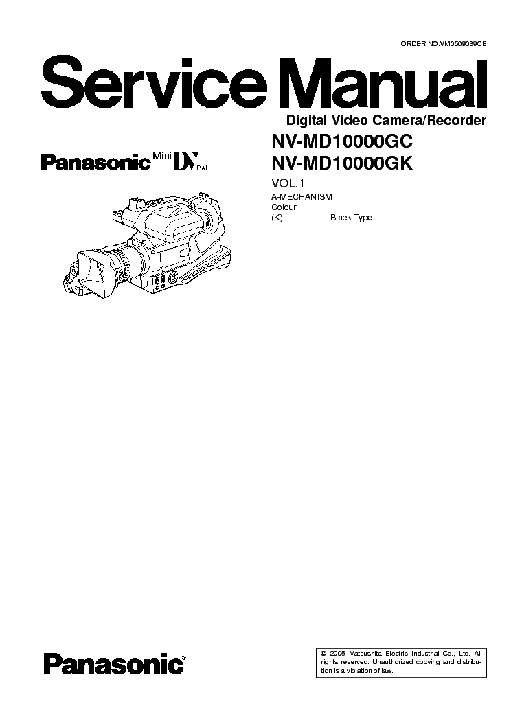 PANASONIC NV-MD10000-SM-VOL1 Service Manual download