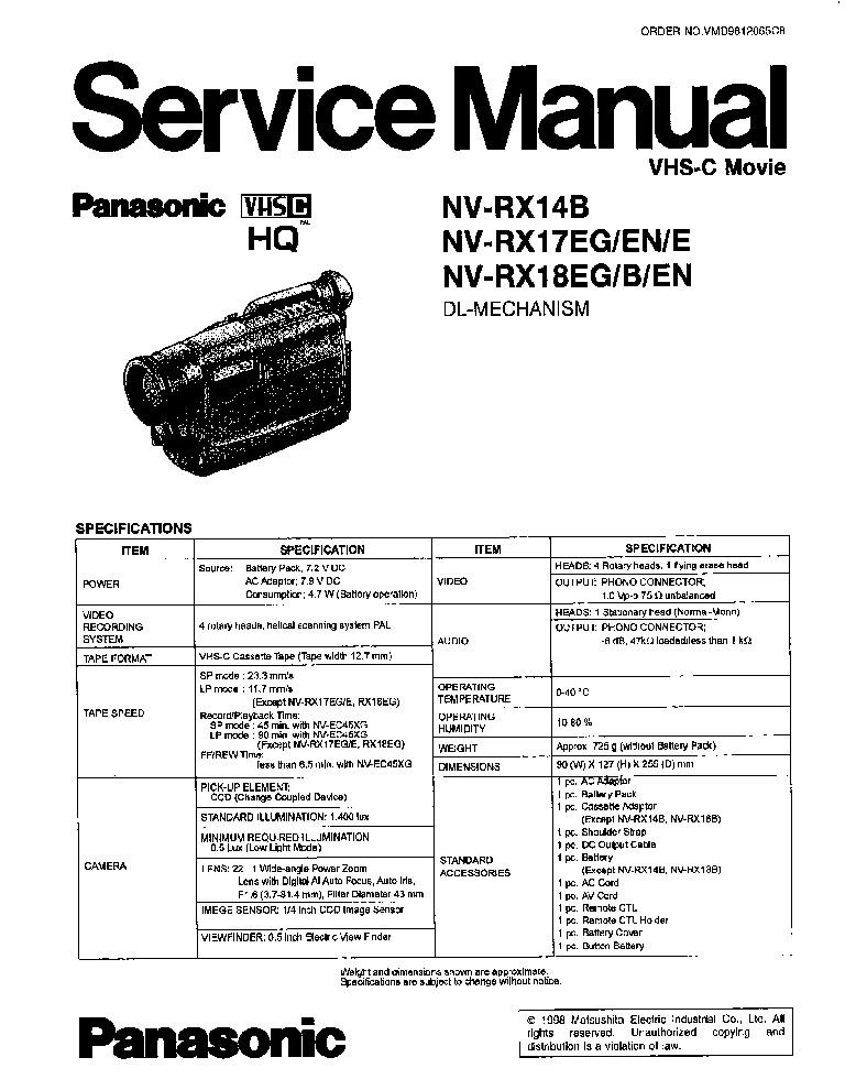 PANASONIC AJ-SD255 MECH PL Service Manual download