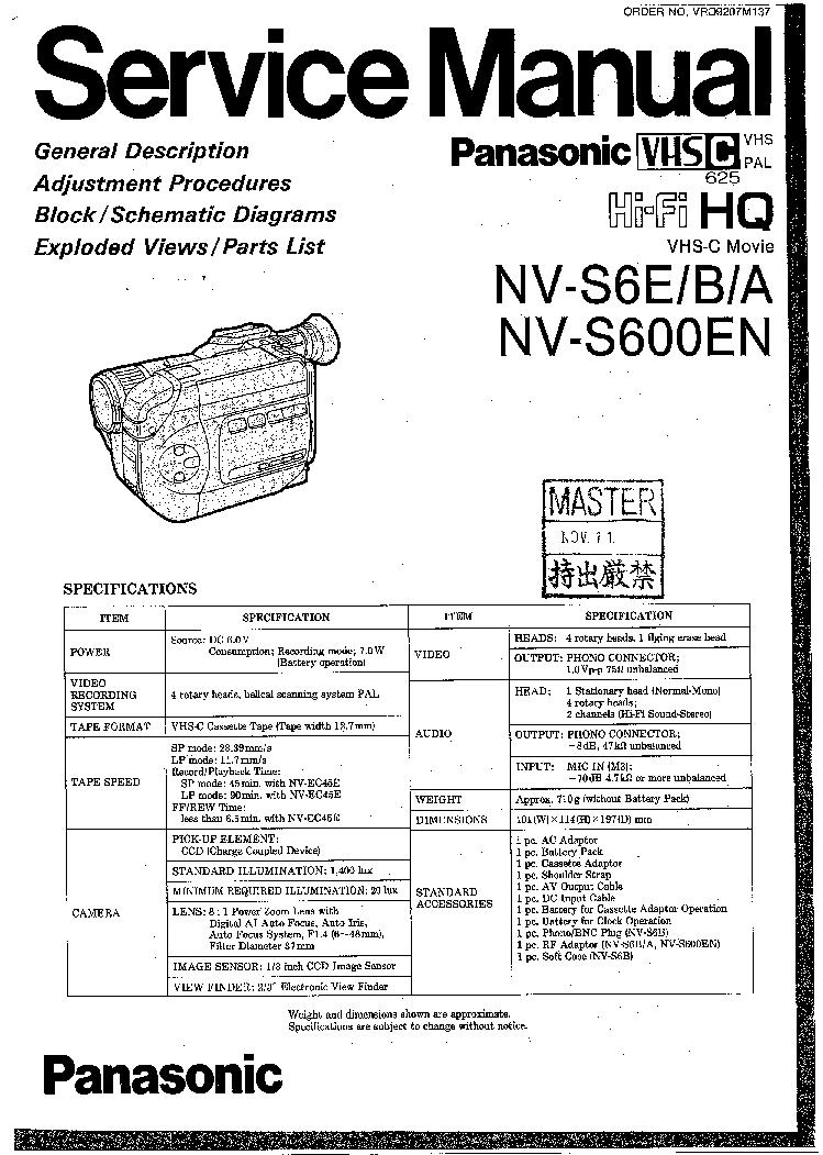 PANASONIC NV-S6E B A NV-S600EN Service Manual free