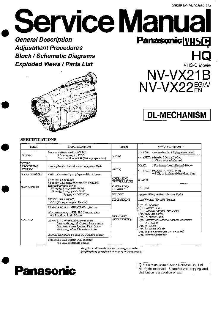 PANASONIC NV-RX11 RX21 RX22 Service Manual download