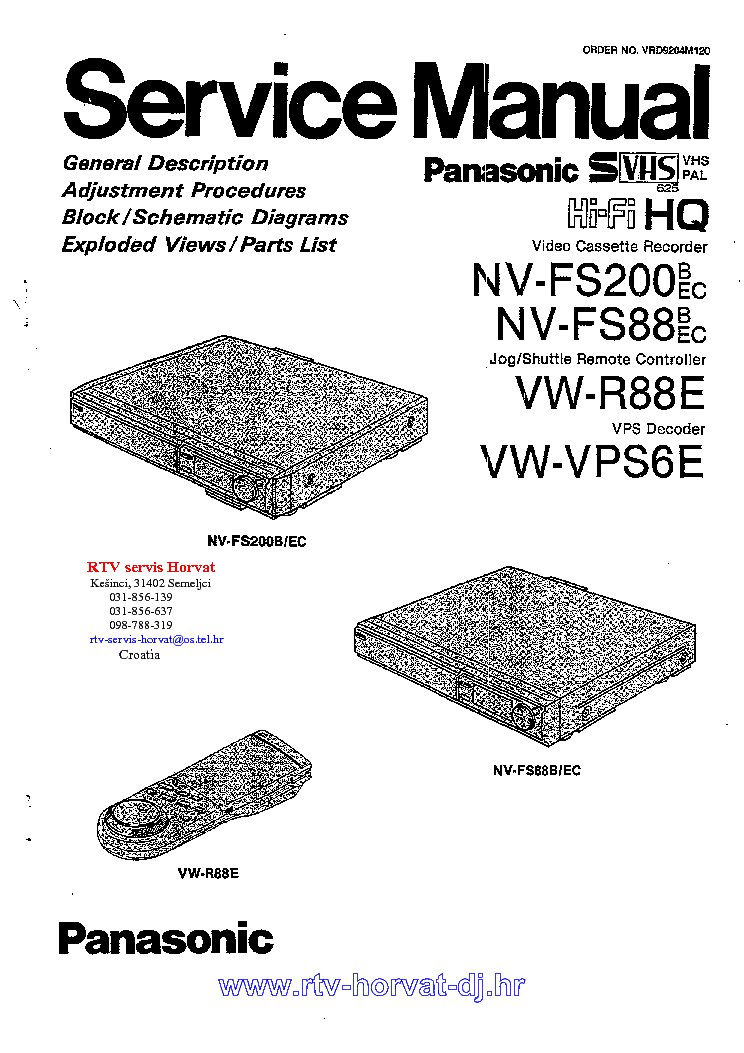 PANASONIC NVFS200 NV-FS88 VW-VPS6E Service Manual download