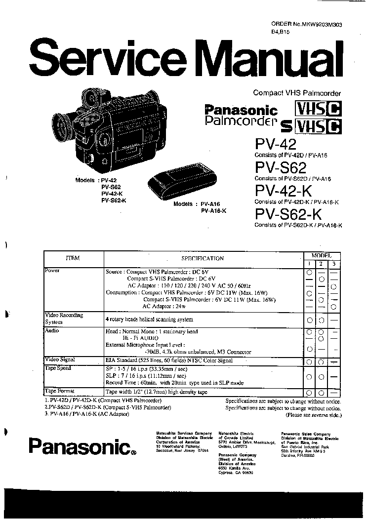 PANASONIC PV-42-K PV-S62-K Service Manual download