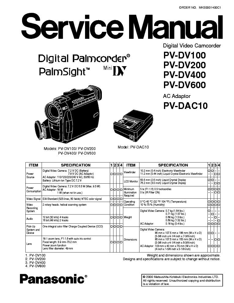 PANASONIC PV-DV100 200 400 600 CAMMINIDV Service Manual