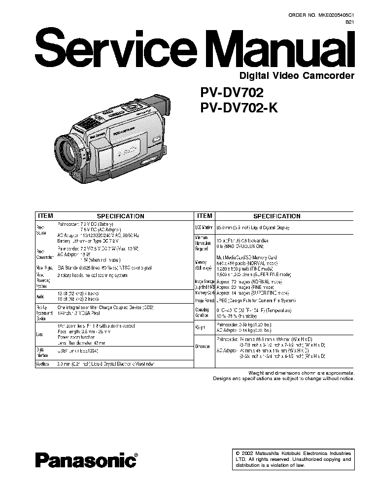 PANASONIC PV-DV702-K Service Manual download, schematics