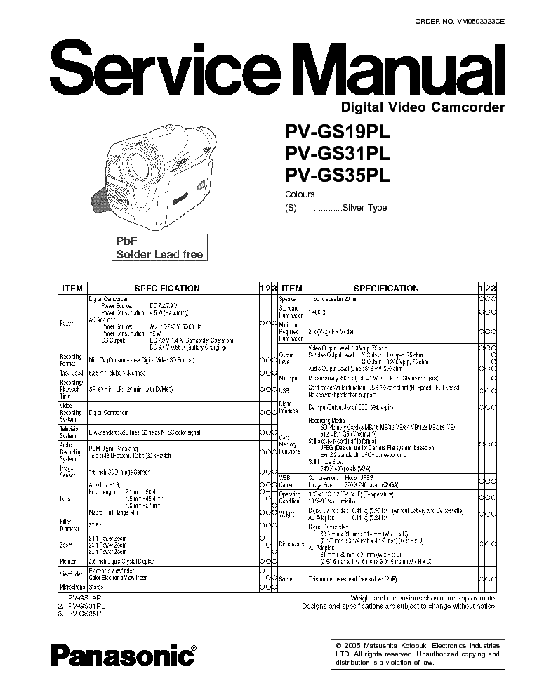 PANASONIC SDR-S7 Service Manual download, schematics