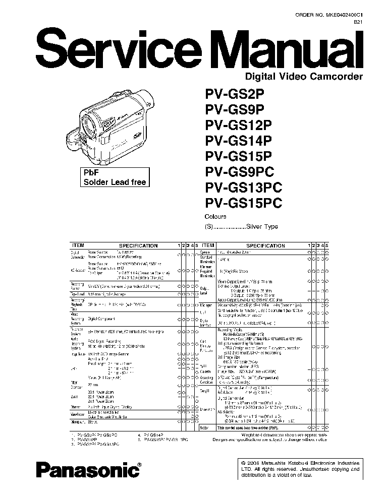 PANASONIC AJ-SPD850 MECH PL Service Manual download