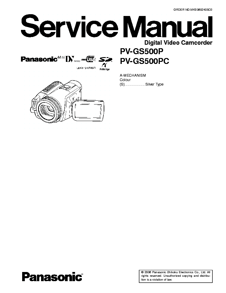 PANASONIC NV-GS120 GS2001 Service Manual free download