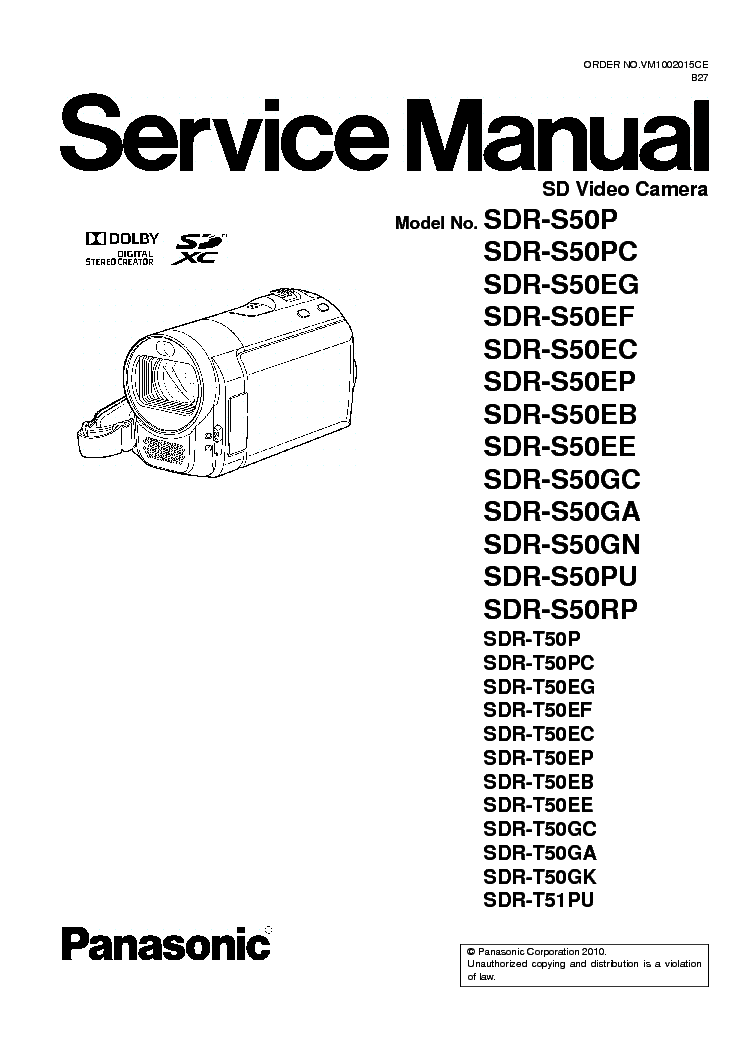 PANASONIC SDR-S50 T50 T51 Service Manual download