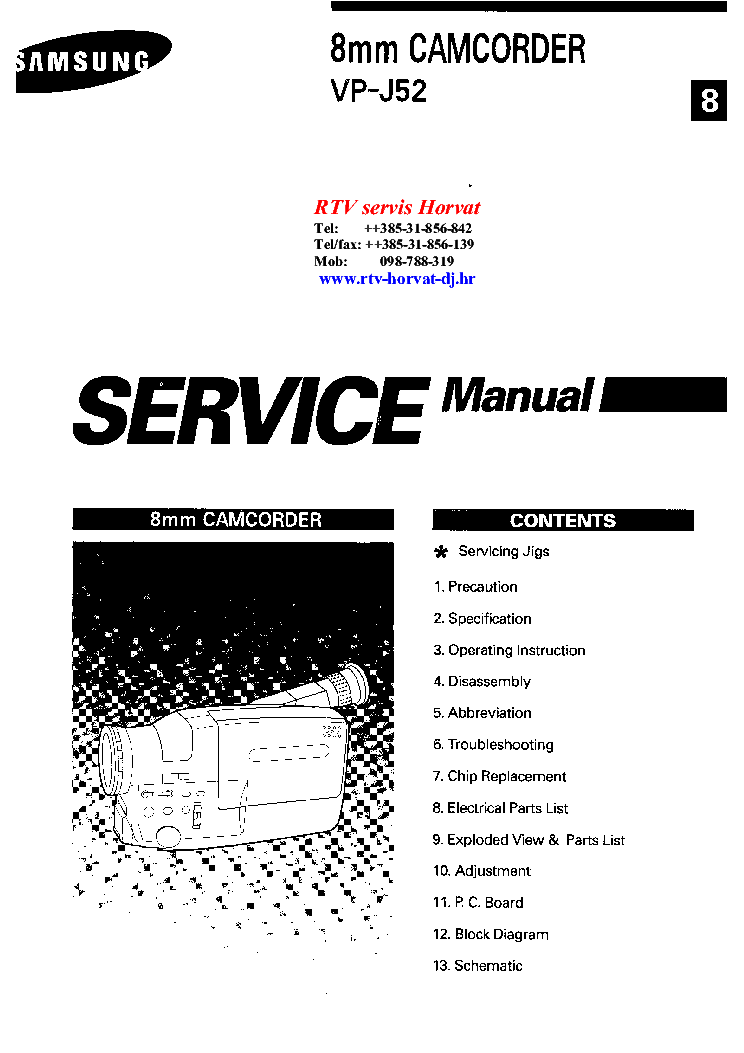 SAMSUNG VP-J52 SM Service Manual download, schematics