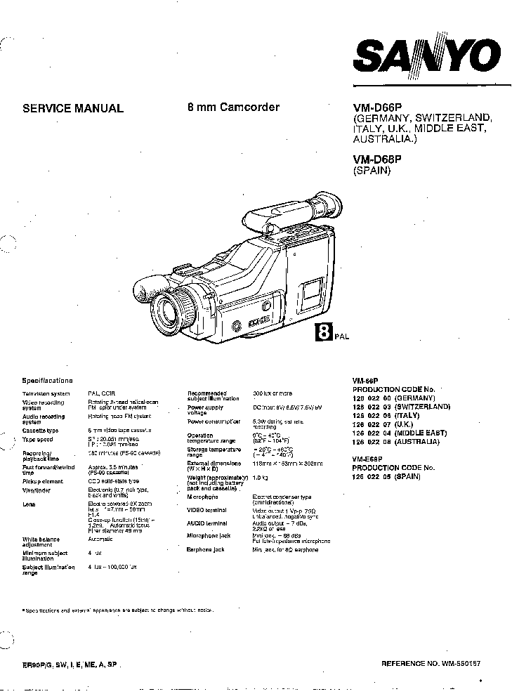 SANYO VM-D66P VM-68P CAMCORDER SM Service Manual download
