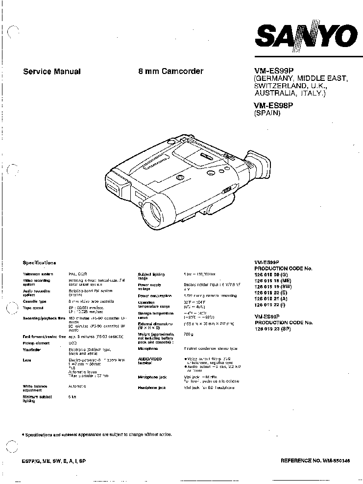SANYO VM-ES99P VM-98P CAMCORDER SM Service Manual download