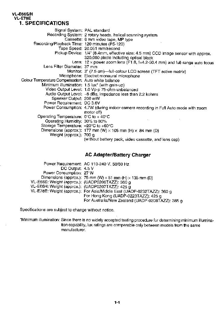 SHARP VL-E66 VL-E78 SM Service Manual download, schematics