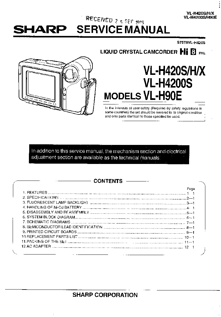 SHARP VL-H90 VL-H420 VL-H4200 SM Service Manual download