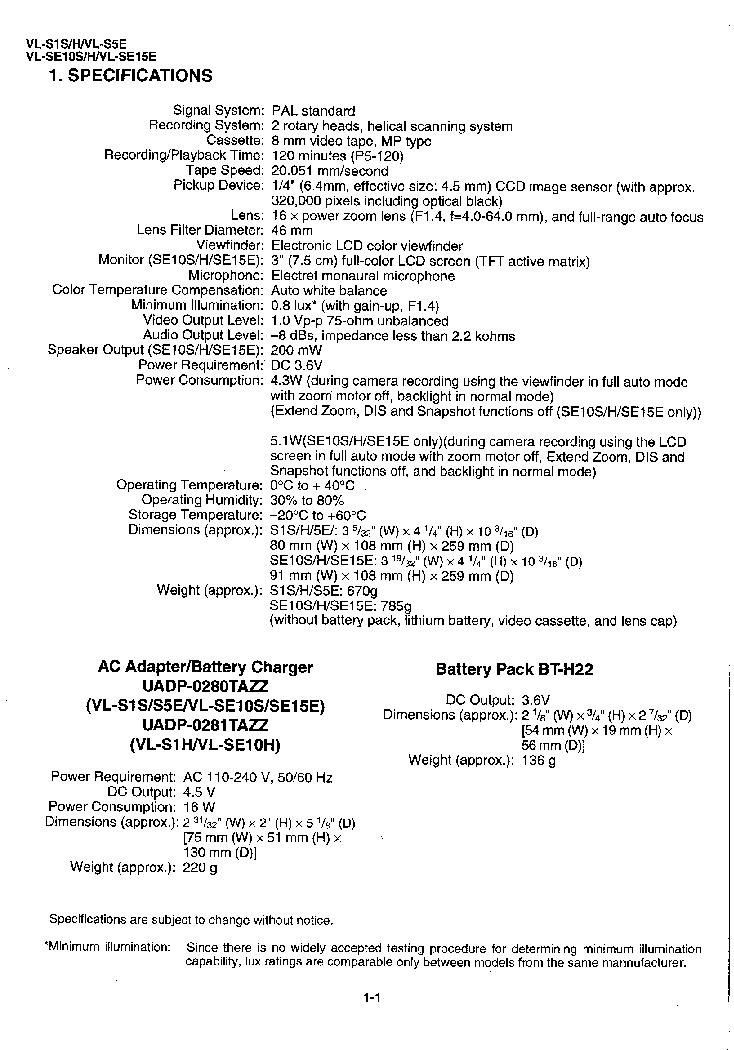 SHARP VL-S1 VL-S5 VL-SE10 VL-SE15 SM Service Manual