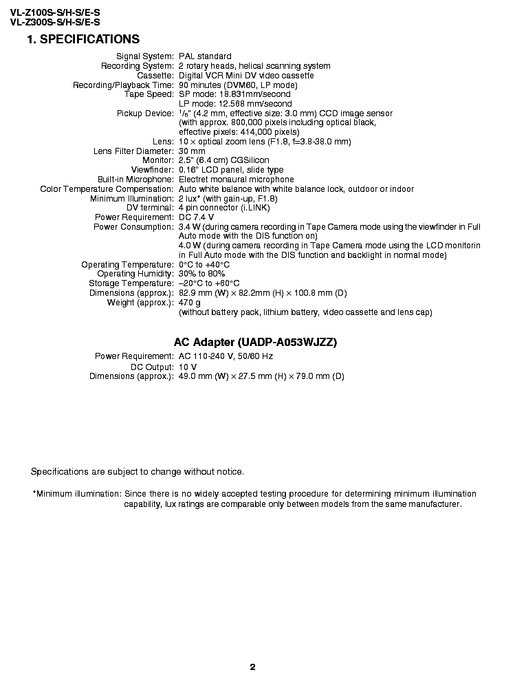 SHARP VL-Z100 VL-Z300 SM Service Manual download