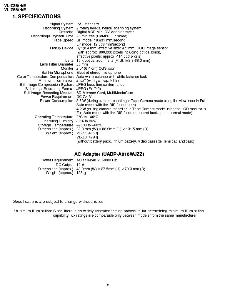 SHARP VL-Z3S H E VL-Z5S H E Service Manual download