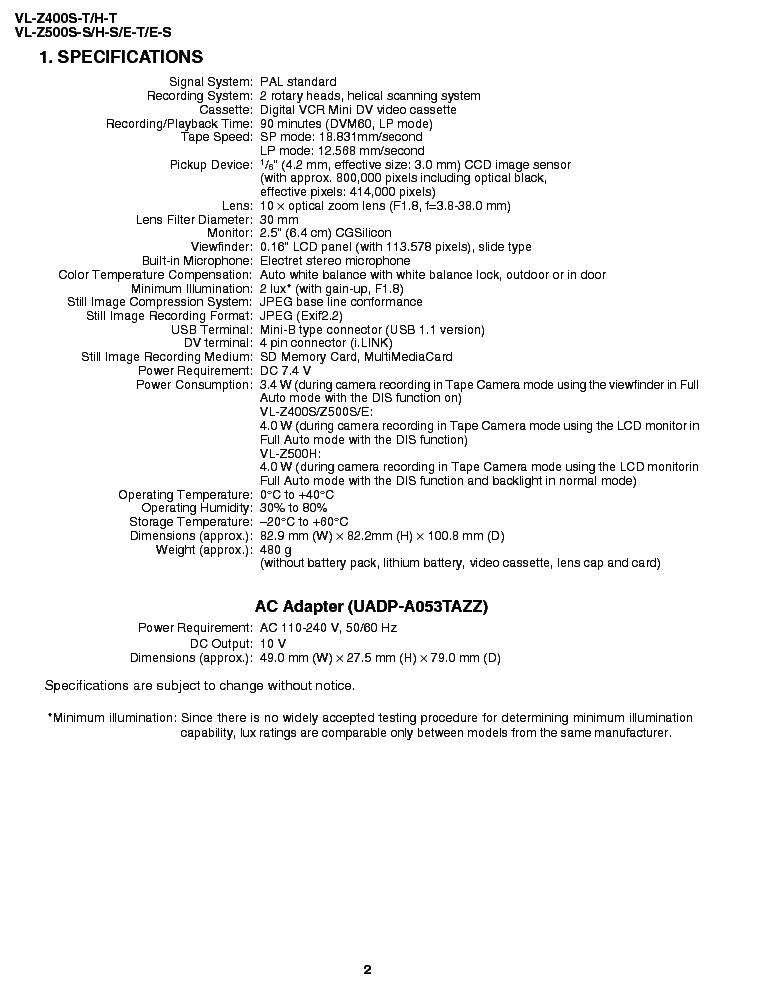 SHARP VL-Z400 VL-Z500 SM Service Manual download