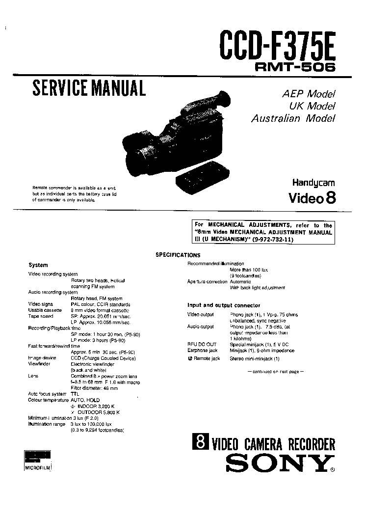 SONY CCD-F375E Service Manual download, schematics, eeprom