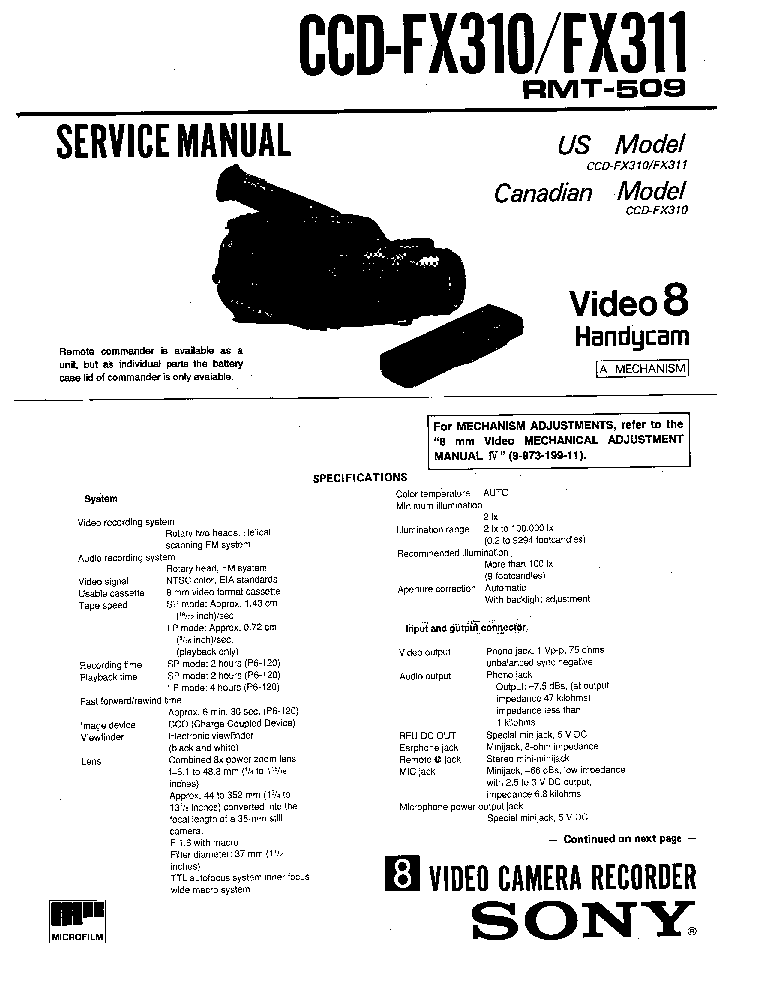 SONY CCD-FX310 FX311 Service Manual download, schematics