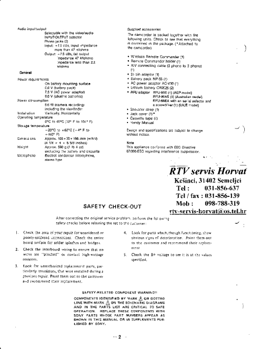 small resolution of sony ccd tr105e sm service manual 2nd page