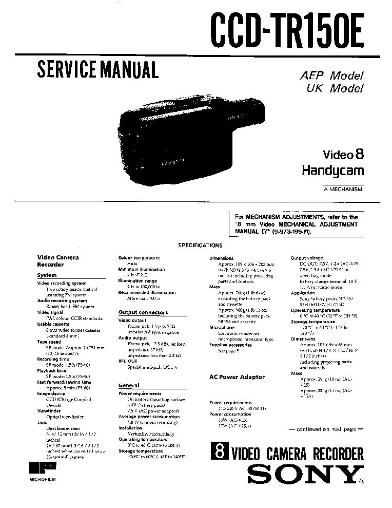 SONY CCD-TR150E Service Manual download, schematics