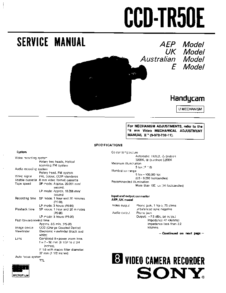 SONY CCD-TR50E Service Manual download, schematics, eeprom