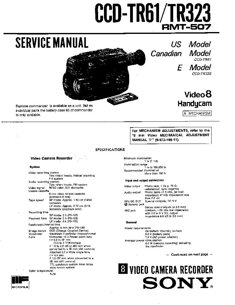 SONY CCD-TR61 TR65 TR323 TR353 SM PT2 DIFFS Service Manual