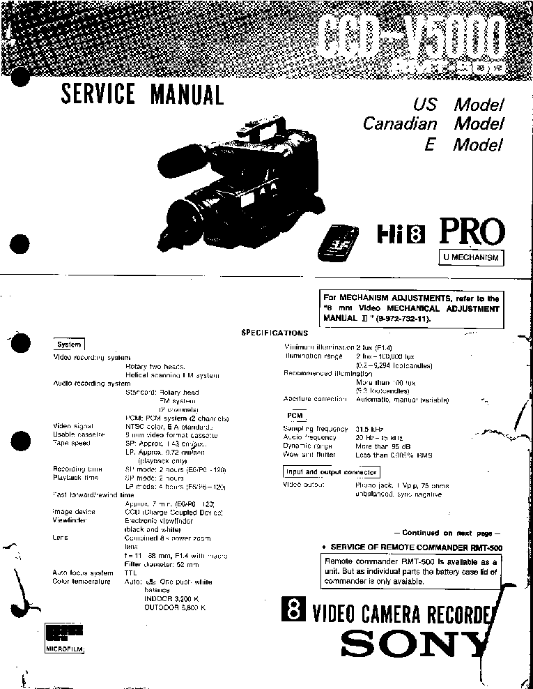 SONY CCD-V5000 1 Service Manual download, schematics