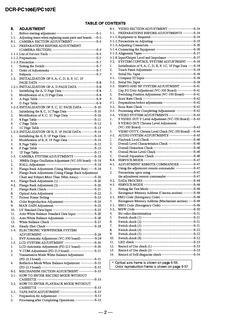 SONY DCR-PC106 PC107 ADJUSTMENT VER1.1 Service Manual