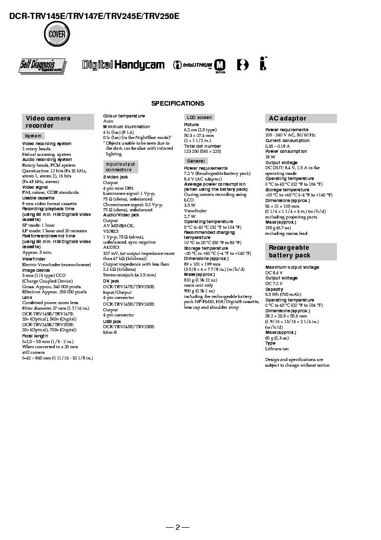SONY DCR-TRV145E,147,245,250 LEVEL1 V1.0 Service Manual