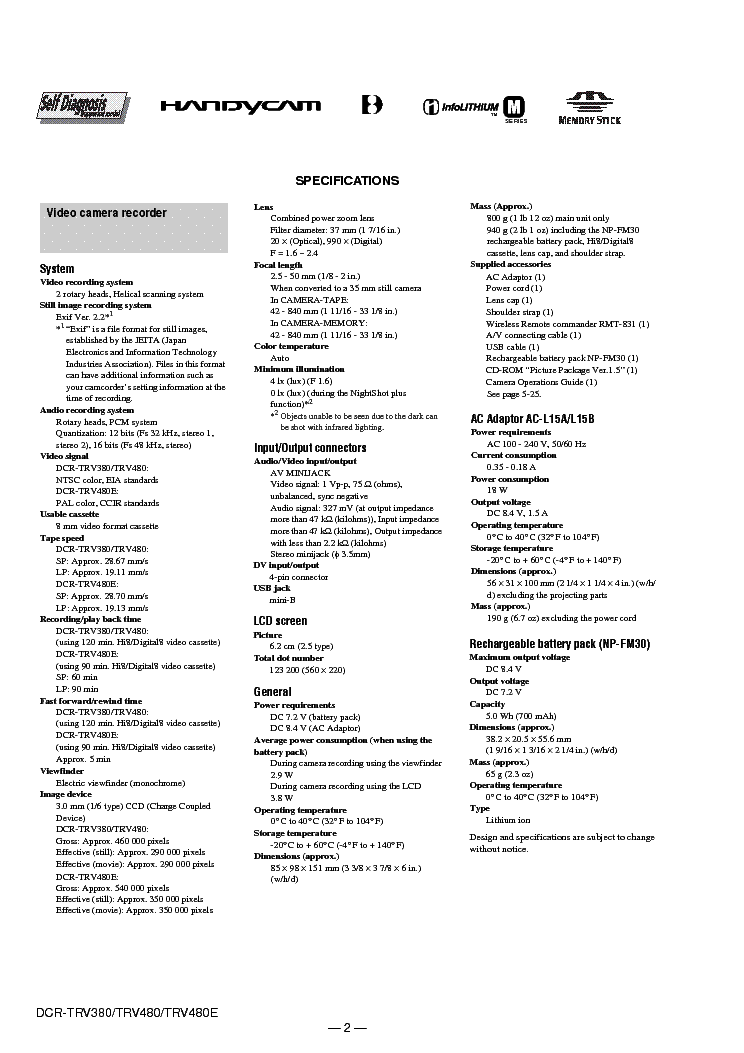 SONY DCR-TRV380 TRV480 LEVEL-2 VER-1.0 SM Service Manual