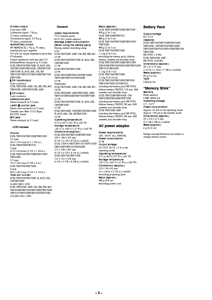 SONY DCRTRV 620 520 Service Manual download, schematics