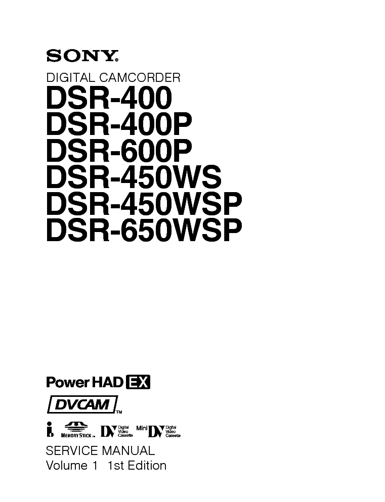 SONY DSR-400 450 600 650 Service Manual free download