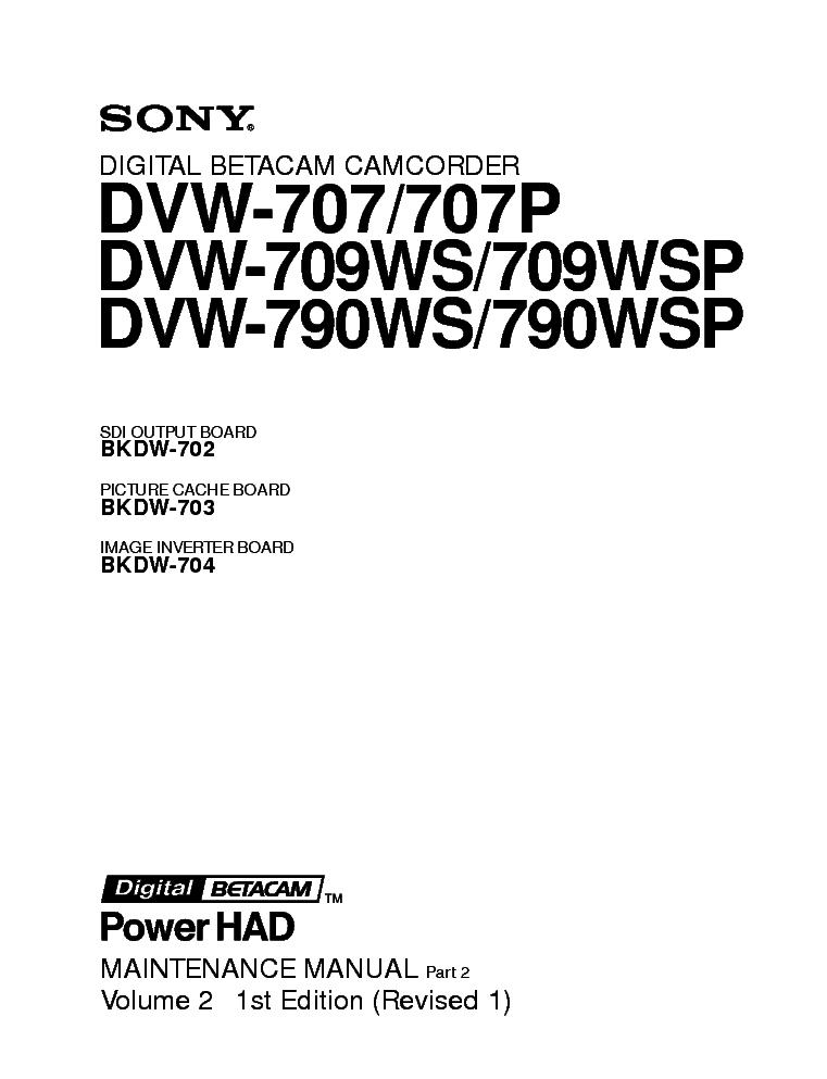 SONY DVW-707P DVW-709WS DVW-790WSP VOL2 Service Manual