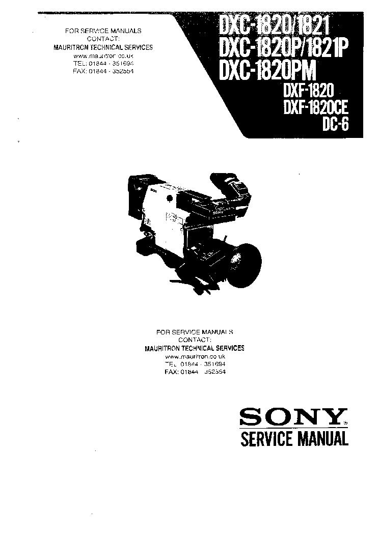 SONY DXC-1820 DXC-1821 DXF-1820 DC-6 SM Service Manual