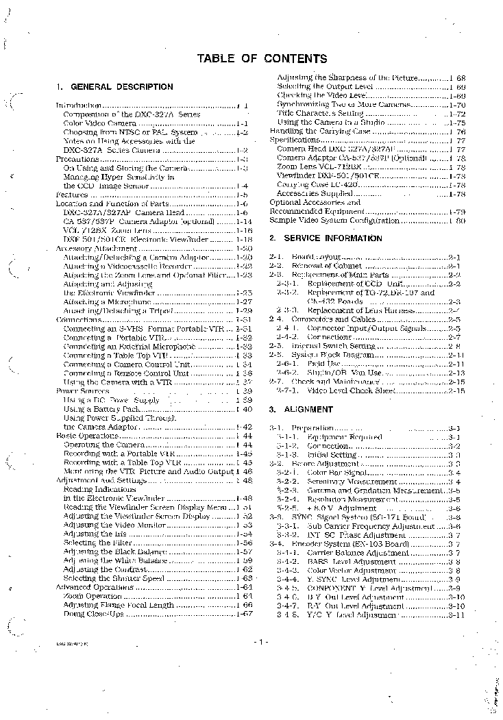 SONY DXC-327AP DXK-327P VOLUME-1 SM Service Manual