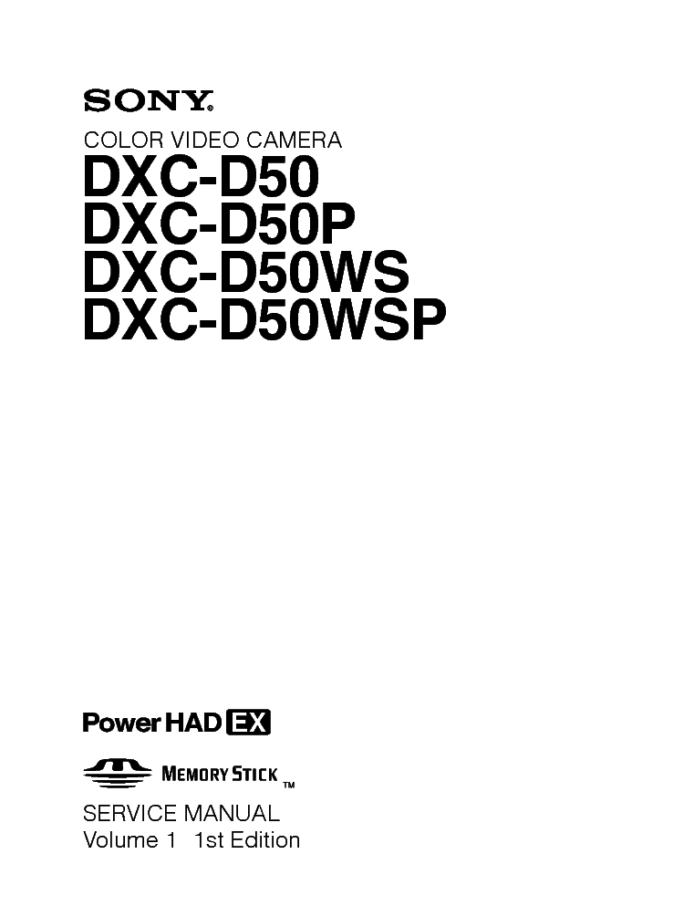 SONY DXC-D50 VOLUME-1 SM Service Manual download