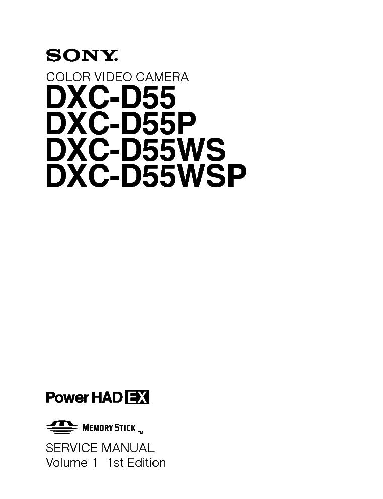 SONY DXC-D55 DXC-55P DXC-55WS DXC-55WSP VOL1 1ST EDITION