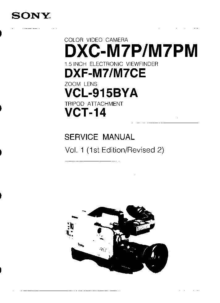 SONY DXC-M7P DXC-M7PM DXF-M7 DXF-M7CE VCL-915BYA VCT-14